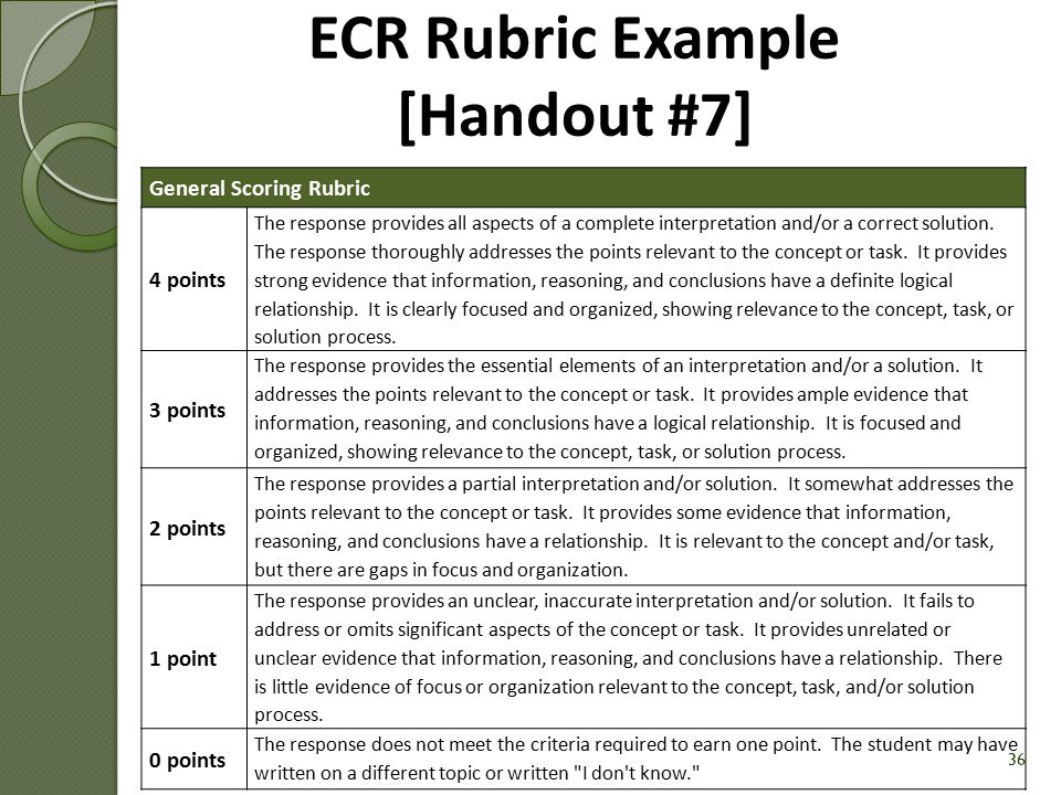 ECR Rubric Example [Handout #7]